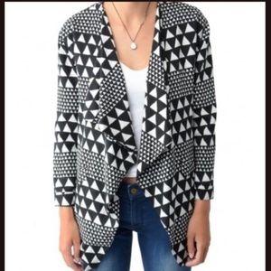 Minkpink black and white oversize geometric blazer